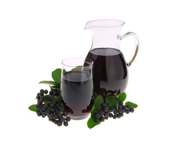 Tillbringare och glas med aroniajuice och aroniabär - polyfenoler och apoptos i cancerforskningen.
